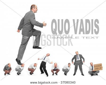 Successful businessman. Business rivalry concept. Picture with space for your text.
