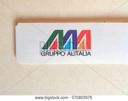 Rome - Circa June 2020: Alitalia Airline Bag Tag