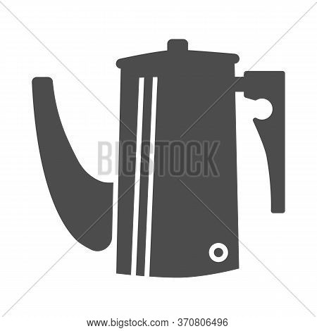 Kettle Solid Icon, Kitchen Utensils Concept, Coffee Brewing Kettle With Long Thin Spout Sign On Whit