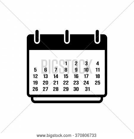 Calendar Icon One Month Isolated On White Background, Calendar Icon Vector Flat Modern, Calendar Ico