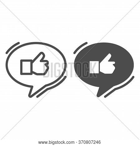 Ok Gesture In Chat Bubble Line And Solid Icon, Hand Gestures Concept, Thumbs Up Sign On White Backgr