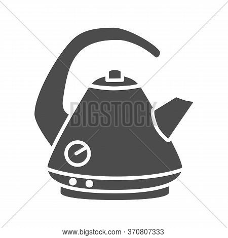 Electric Kettle Solid Icon, Kitchen Accessory Concept, Teakettle In Classic Style Sign On White Back
