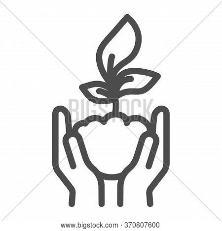 Human Palms Hold A Young Sprout Line Icon, Save Nature Concept, Sprout Symbol On White Background, P