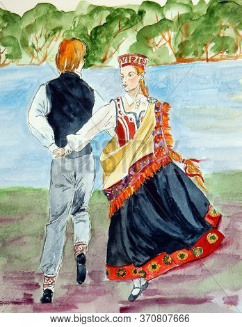 Watercolor Drawing Of Latvian Folk Dance In Folk Costumes