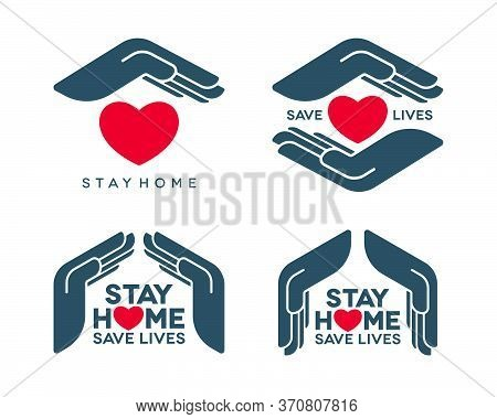 Stay Home Save Lives Coronavirus Pandemic Concept Design. Social Isolation Vector Icons Set With Pro