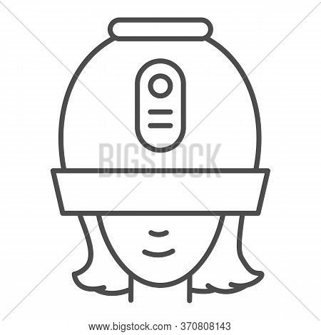 Young Woman Under Hooded Dryer Machine Thin Line Icon, Hair Salon Concept, Girl Under Drying Hood Si