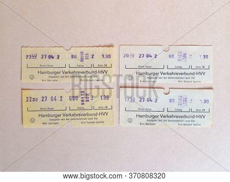 Hamburg - Jun 2020: Vintage Hamburg Public Transport Ticket