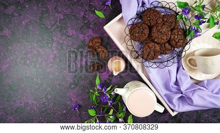 Serving Freshly Baked Double Chocolate Chip Homemade Cookies On Pink Tray.
