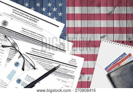 Uscis Form I-9 Employment Eligibility Verification Lies On Flat Lay Office Table And Ready To Fill.