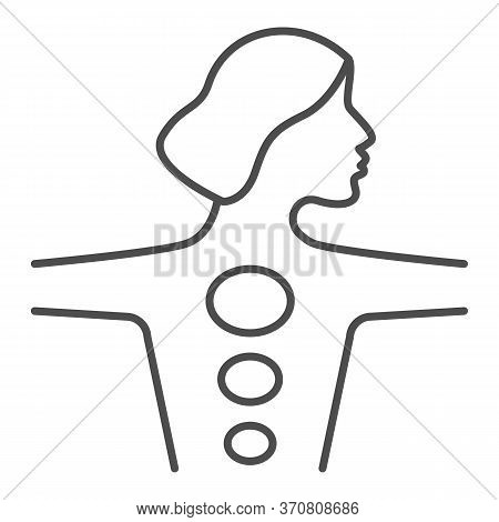 Girl Body With Hot Stones Thin Line Icon, Spa Salon Procedure Concept, Stone Treatment Sign On White