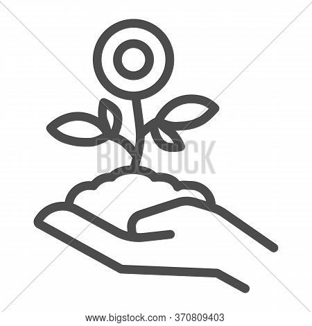 Flower Plant In Hand Line Icon, Spring Concept, Flower In Soil On Human Hand Sign On White Backgroun