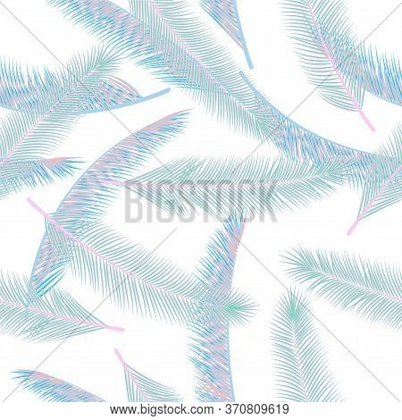 Summer Feather Plumelet Vector Seamless Ornament. Multicolored Illustration. Ethnic Aztec Feather Pl