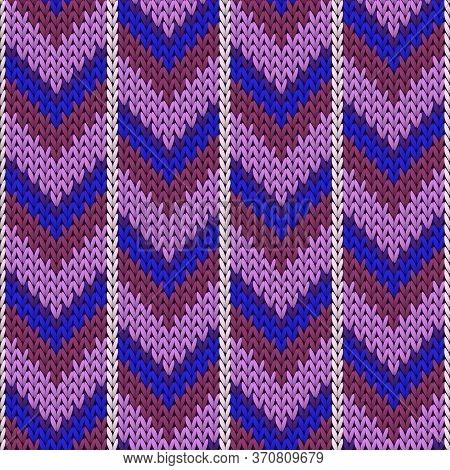 Modern Downward Arrow Lines Christmas Knit Geometric Seamless Pattern. Blanket Knitwear Structure Im