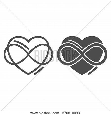 Infinity Sign In Heart Shape Line And Solid Icon, Free Love Concept, Love Eternity Sign On White Bac