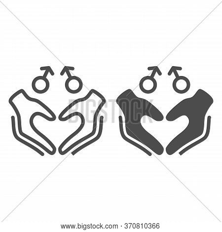 Gay Signs With Hands In Heart Shape Line And Solid Icon, Lgbt Couple Concept, Homosexual Love Sign O