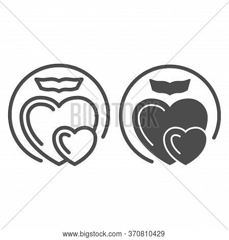 Two Love Hearts Line And Solid Icon, Romance Concept, Two Hearts Soar With Love Sign On White Backgr
