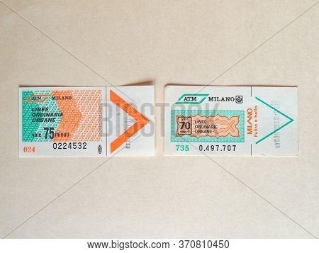 Milan - Jun 2020: Vintage Milan Public Transport Ticket