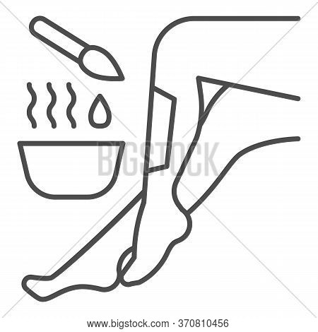 Legs And Wax In Bowl With Brush Thin Line Icon, Spa Salon Concept, Hair Removal Procedure Sign On Wh