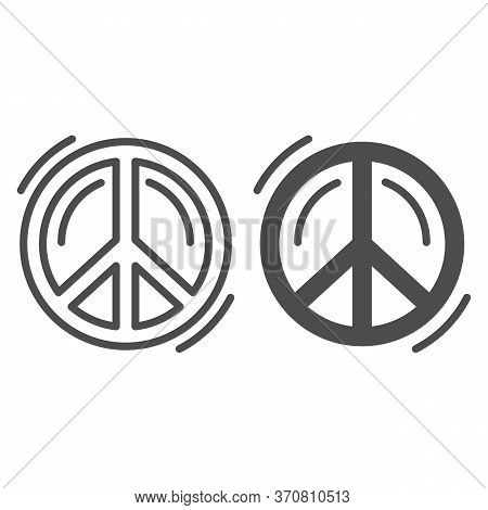 Pacifist Symbol Line And Solid Icon, Human Rights And Tolerance Concept, Peace And No War Sign On Wh