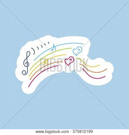 Stickers. Rainbow, Musical Notation, Hearts Hand Drawn