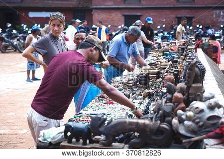Kathmandu,nepal - August 16,2019: Tourists Shopping Souvenirs At Patan Durbar Square In Kathmandu Ne