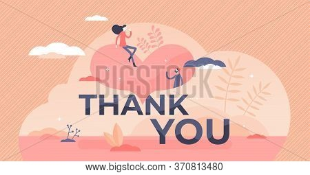 Thank You Vector Illustration. Gratitude Banner Flat Tiny Persons Concept. Kind Communication And An