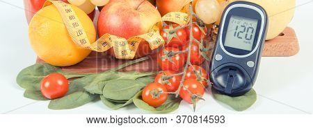 Glucose Meter With Result Of Measurement Sugar Level, Fruits With Vegetables And Tape Measure, Healt