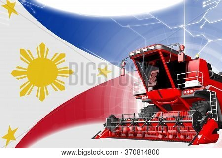 Agriculture Innovation Concept, Red Advanced Grain Combine Harvester On Philippines Flag - Digital I