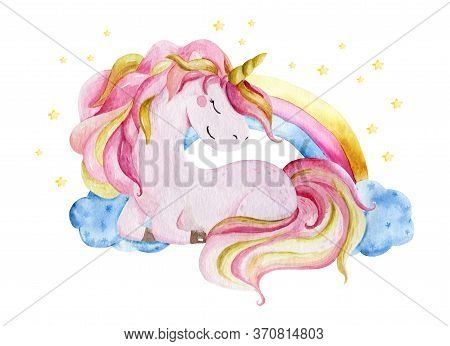 Isolated Cute Watercolor Unicorn And Rainbow Clipart. Nursery Unicorns Illustration. Princess Unicor