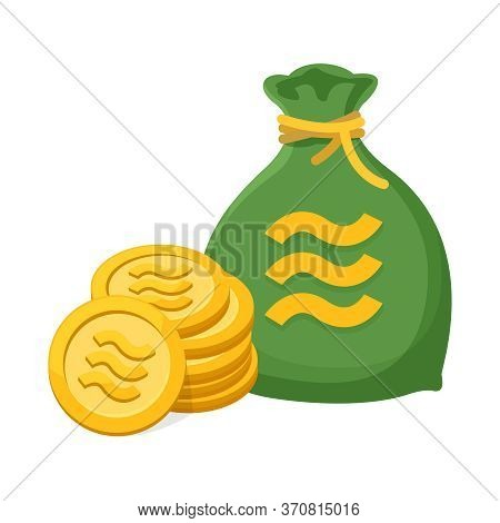 Pile Coin Gold Realistic Libra Calibra Currency And Money Bag Isolated On White, Libra Calibra Curre