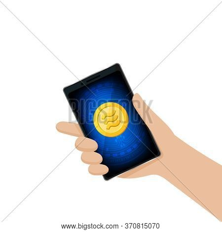 Coin Gold Logo Libra Calibra Currency In Smart Phone Screen, Hand Holding A Smartphone And Libra Cal