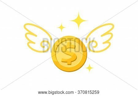 Dollar Money Gold Coin And Wing, Icon Penny And Wings Fly Concept, Dollar Money Coin Fly Up, Loss Fi