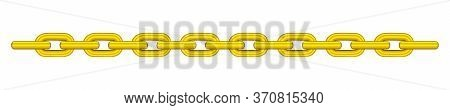 Gold Chain Isolated On White, Golden Chain Steel, Illustration Chains