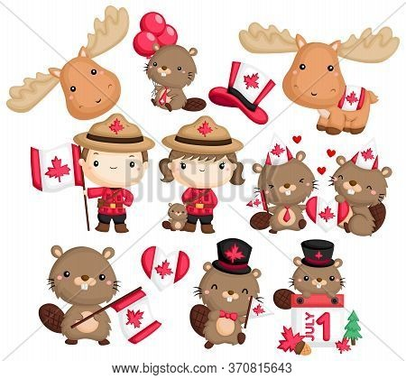 A Vector With Canada, Beaver, And Moose As A Theme