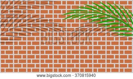 Red Brick Wall Tile And Leaves Palm For Background And Copy Space, Wall Brick Tile And Leaf Coconut