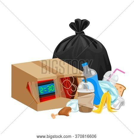 Blast Bomb Of Terrorist In The Crate Box Garbage Waste Isolated On White, Explode A Bomb Dynamite Wi