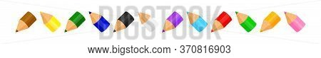 Colorful Crayon Pastel Pencils Cute In A Row Isolated On White, Clip Art Crayon Pencil, Collection C