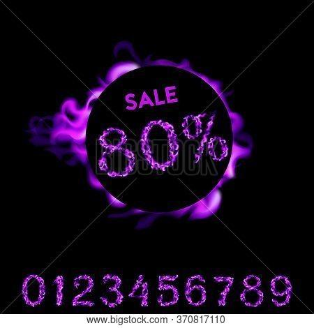80 Percent Sale. Purple Neon Fire Design On Black Background. Vector Illustration