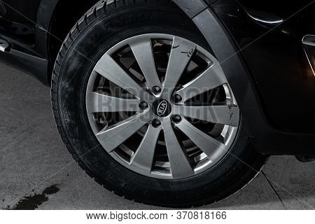 Novosibirsk/ Russia - March 22, 2020: Kia  Sportage, Close-up Of The Alloy Wheel. Photography Of A M