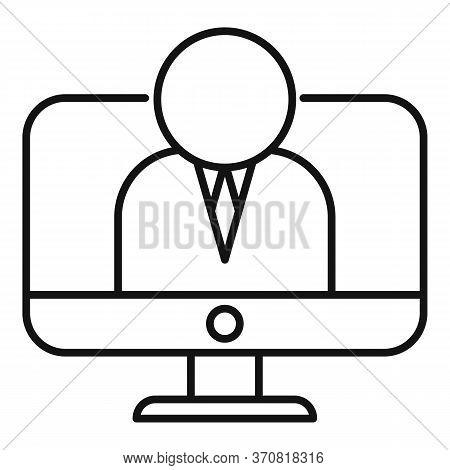 Online Financial Advisor Icon. Outline Online Financial Advisor Vector Icon For Web Design Isolated