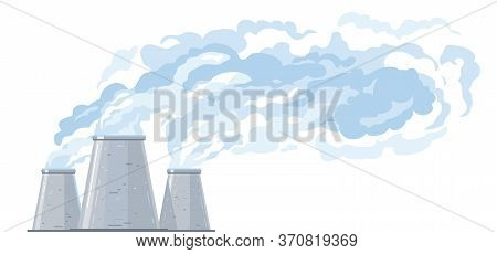 Three Gray Cooling Tower In Side View Evaporates Water And Forms Clouds, Fog Formation From Industri