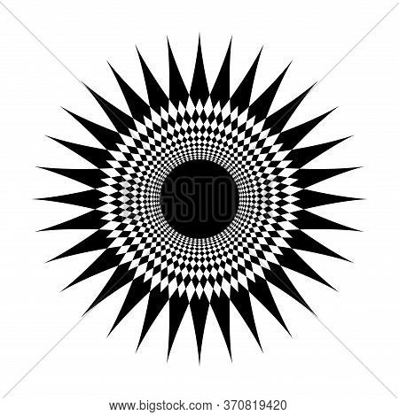 Star Shape Swirl Isolated On White, Radius Art Line Star Swirl And Cycle Wave, Optical Line Wave Twi