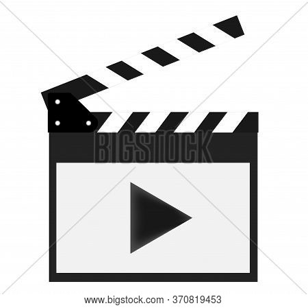 Movie Clapper Isolated On White Background With Video Icons. Shown Slate Board.realistic Movie Clapp