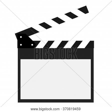 Movie Clapper Open Isolated On White Background. Shown Slate Board.realistic Movie Clapperboard. Cla