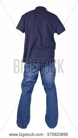 Mens Dark Blue T-shirt With Button-down Collars And Blue Jeans Isolated On White Background.casual C