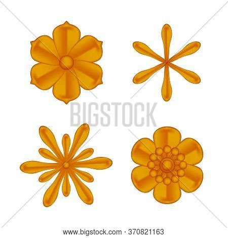 Flowers Copper Ornate Isolated On White, Luxury Flower Petal Copper Set, Copper Flowers Object Metal