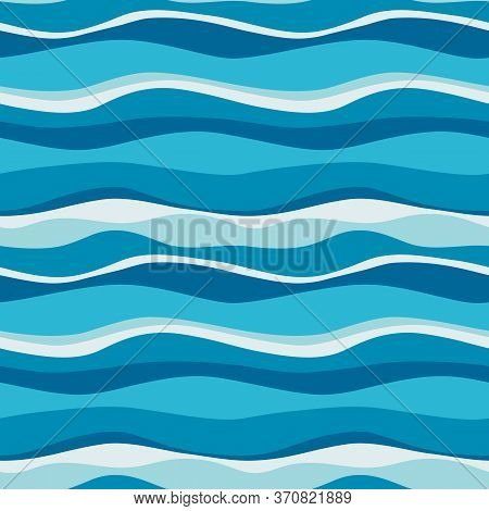 Sea Waves Blue, White Stripes Seamless Pattern. Vector Ocean Blue Digital Paper For Wrapping, Fabric