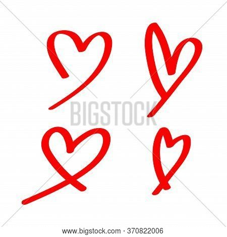 Heart Shape Doodle Line Red Isolated On White, Heart Shape Art Line Sketch Brush, Heart Shape Sign W