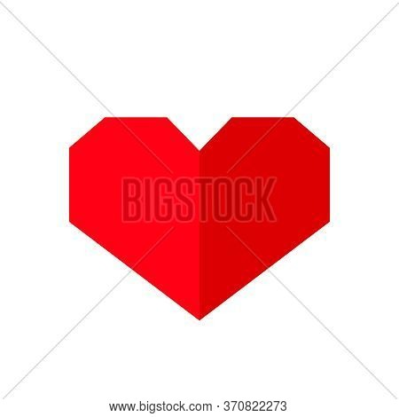 Red Heart Shape Paper Isolated On White, Simple Cute Heart Plain For Graphic Valentine Card, Heart-s