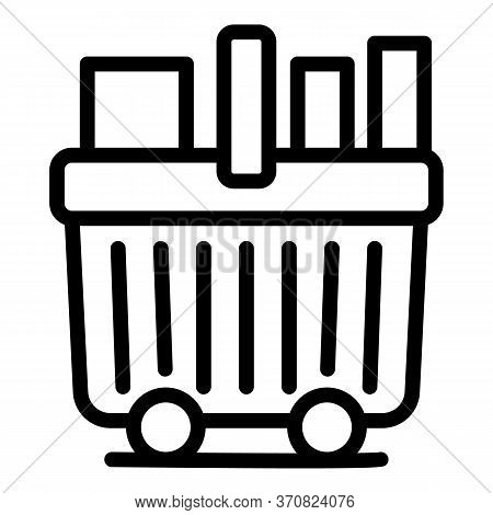 Full Shopping Cart Icon. Outline Full Shopping Cart Vector Icon For Web Design Isolated On White Bac